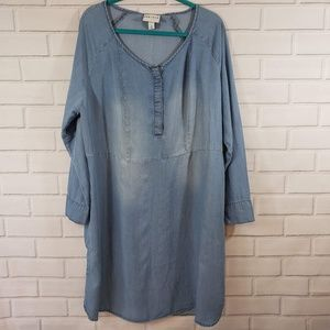 Ava & Viv Womens Size 1X Denim Long-sleeved Dress